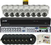 True Full HD-TVI/AHD/IP/960H Hybrid 16CH 1080P DVR Security System with 8x2-Megapixel Dome Color Camera Network Remote Viewing