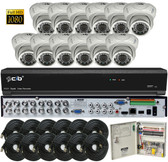 True Full HD-TVI/AHD/IP/960H Hybrid 16CH 1080P DVR Security System with 12x2.1Megapixel Dome Color Camera Network Remote Viewing