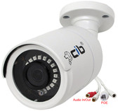 CIB 5 Megapixel  H264/H265 POE IP67 Vandal Bullet IP Security Color Camera, Wide Lens 2.8mm, Audio In and Out