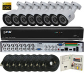 True Full Hybrid 16CH 5M DVR Security System with 8x5-Megapixel Bullet Color Camera Network Remote Viewing