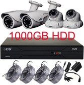 4CH 720P NVR HD Security Camera System with 4 Indoor/ Outdoor Night Vision 720P IP Cameras 1TB HDD