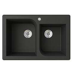 "Swanstone QZRC-3322 Drop-In Off-Set Double Bowl Granite Kitchen Sink 33""W x 22""D"