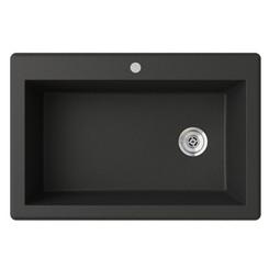 "Swanstone QZSB-3322 Drop-In Large Single Bowl Granite Kitchen Sink 33""W x 22""D"