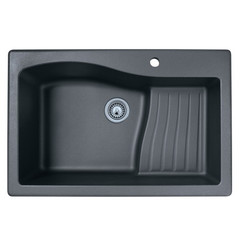 "Swanstone QZAD-3322 Drop-In Large Single Ascend Bowl Granite Kitchen Sink 33""W x 22""D"