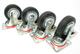 "4"" (100mm) Rubber  Swivel Castor with Brake Castor Wheels Trolley (4 Pack) RM010"