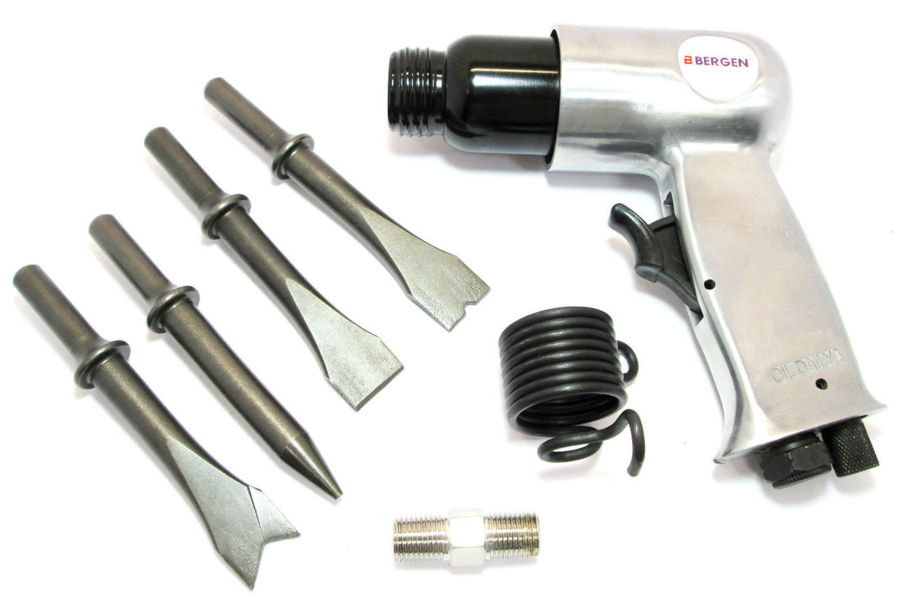 150mm Air Hammer / Drill Complete With 4 Air Chisels New By US PRO 8594