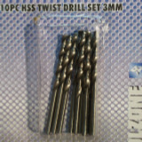 3.0mm 10pc High Speed Steel Drill Bit Set Hobby,craft etc TZ DR093