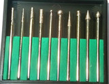 10 Pc 150 Grit Diamond Burr Set with 2.35mm Shafts New TZ   HB264