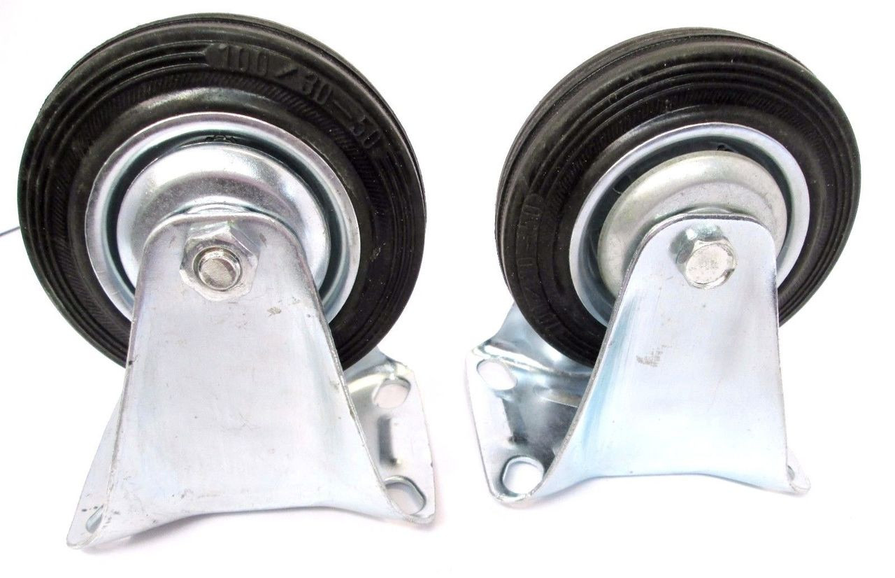 125mm Rubber Fixed Castor Wheels Trolley Furniture Caster