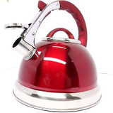 3.5 Litre Metallic Red Stainless Steel Whistling Kettle Gas & Electric Hobs