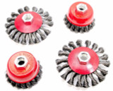 "Twist Knot Wire Cup Brush Wheel 3"" & 4"" Semi Flat Wheel Pack of 4 Vewerk 2130"