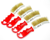 Set Of 4 Curved Brassed Plated Wire/ Spid Brush Plastic Handle New  BR047
