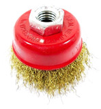 VEWERK 65mm Brass Wire Cup Brush Rust Removal Rotary Wheel (x1) 2126
