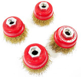 VEWERK 65mm Brass Wire Cup Brush Rust Removal Rotary Wheel (x4) 2126