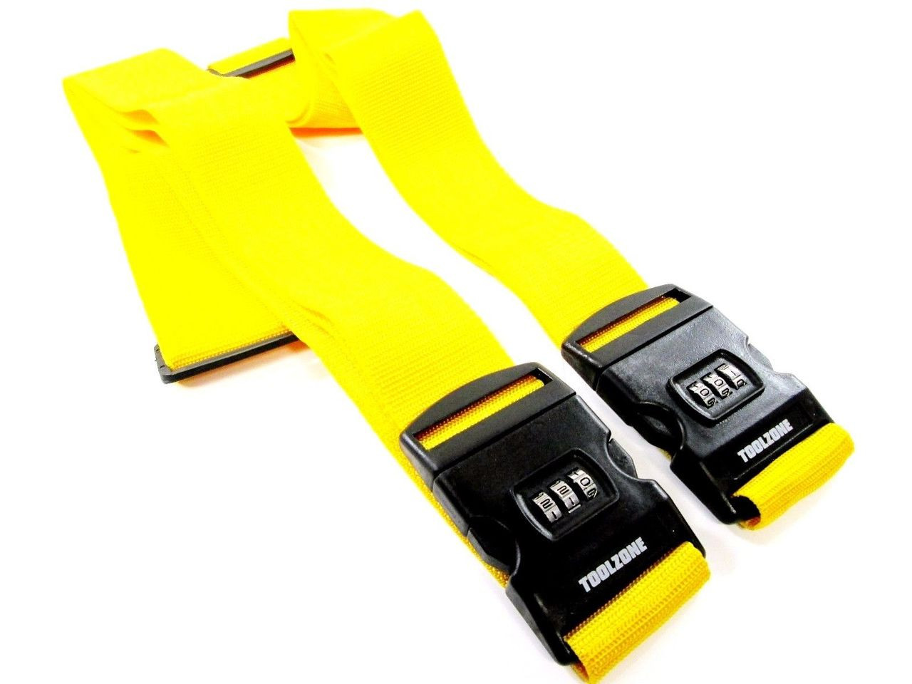 Luggage Suitcase Strap Combination Security Lock Hi Vis Yellow Adjustable x 2