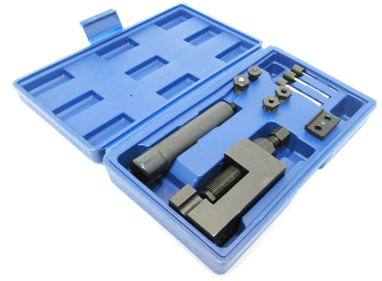 Professional Motorcycle Chain Breaker Link Splitter Tools Kit with Carrying Case for Chains #32 to #532