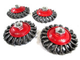 4x Twist Knot Semi Flat Wire Brush Wheel 115mm Angle Grinder Rust Removal WB005
