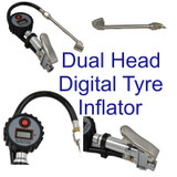 LCD Digital Display Dual Head Tyre Inflator with Push on Connector 0 - 195 PSI