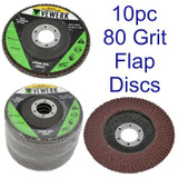 "10 x Flat Flap Discs 80 Grit For Angle Grinder 4.5"" 115mm Sanding Grinding 8021"