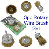 Vewerk 3pc Rotary Wire Brush Set 6mm Shank Flat Cup End Brush Prep Kit 2132
