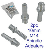 US PRO Tools 2pc Spindle Drill Adapters M14 x 2 Thread, 10mm Shaft NEW 3406