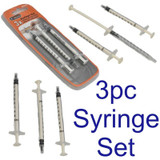 TACTIX 3pc Set 10ml Plastic Disposable Injector Syringe Glue Crafts Hobby 545001