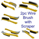 2x Wire Cleaning Removal Brush 5 Row Steel Bristles Plastic Handle Scraper BR002