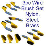 3pc Soft Grip Wide Wire Brush Set Nylon Brass Steel Cleaning Rust Paint BR063