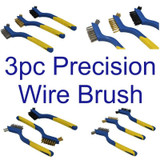 3pc Double Ended 175mm Precision Detail Brush Set Nylon Brass Steel BR061