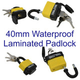 40mm Weather Water Proof Resistant Laminated Steel Padlock Shed Gate 3 Key LK100