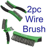 2x 260mm Cleaning Removal Stainless Steel Wire Brush with Soft Grip Handle 7011