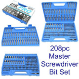 208pc Master Screwdriver Hex Torx Tamper Bits and Accessory Set MM Imperial 3262