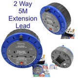Extension Reels Electrical Power Lead Cable Mains Plug 2 Way 2 Gang 5m 31378C