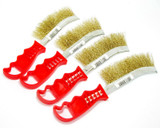 Curved Wire Spid Brush Brass Plated Plastic Handle Set Of 4 2105