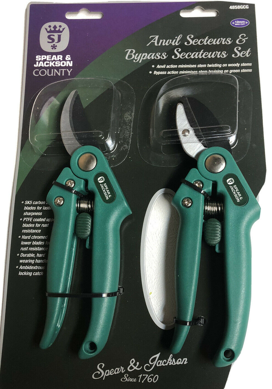 Spear /& Jackson County Bypass and Anvil Secateurs Set 4858GCG