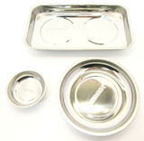 "Magnetic Parts Tray Dish 3pc Set Stainless Steel 3"" 6"" & 9.5"" 6780 6697 6783"