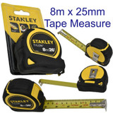 Stanley Tape Measure Tylon Measuring Rule 8M x 25mm Black Yellow  0-30-656