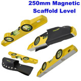Aluminium Magnetic Scaffold Level 250mm Heavy Duty Cast Spirit Levels LV048