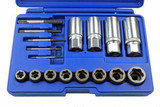 17pc Screw Bolt Stud Nut Extractor Remover Set For Rusted Rounded Seized Bolt