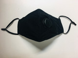 Black Face Mask Adjustable Washable With Valve PPE003