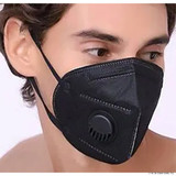 Black Disposable Face Mask With Valve PPE004