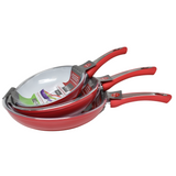 Ceramic Pan Non Stick Pans Novabest Induction Gas Ceramic Electric Hob Set of 3 Red