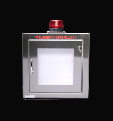 Stainless Steel AED Wall Cabinet with Alarm and Strobe