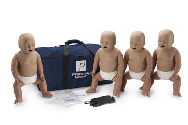 PRESTAN Infant Manikins 4-Pack with CPR Monitor - Dark Skin (PP-IM-400M-DS)