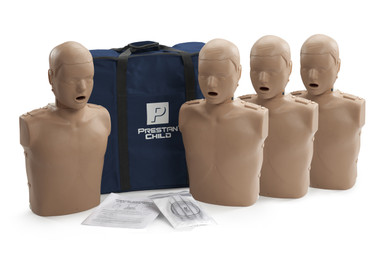 PRESTAN Child Manikin with CPR Monitor 4-Pack - Dark Skin