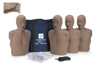 PRESTAN Adult Jaw Thrust Adult Manikin with CPR Monitor 4-Pack Dark Skin (PP-JTM-400-DS)