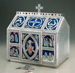 Chest Style Tabernacle with Celtic Ornamentation (Enameled)