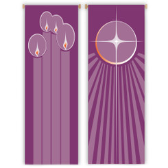 Inside Banner with Advent Candles or Christmas Star Design
