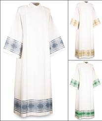 Washable coat style Alb in white Terra with woven Cross motif
