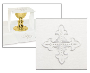 Complete Mass Linen Set with Fleur de Lis Cross Embroidery